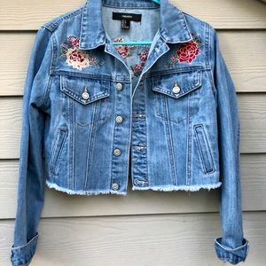 Forever 21 Cropped Embroidered Jean Jacket